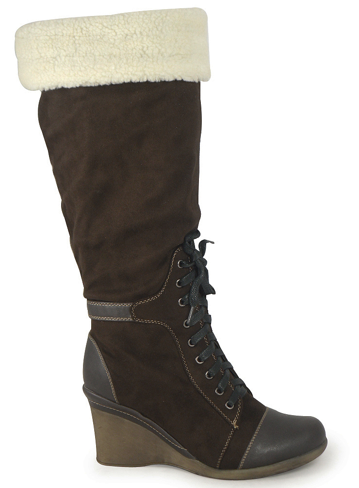brown suede wedge lace boots sizes 3 8 ebay