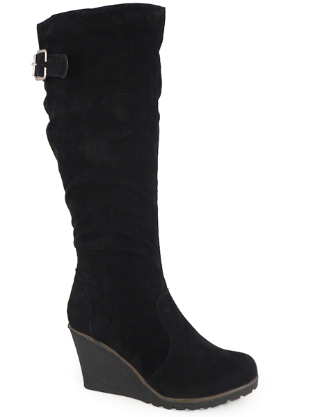 new black knee high wedge shoes boots sizes 3 8 ebay